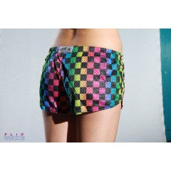 Soffe Mesh Teeny Tiny Shorts Checkerboard Rainbow