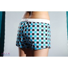Soffe V Notch Shorts Blue Checkered