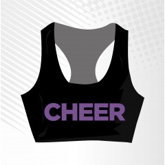 Purple Glitter Cheer Sport Bra